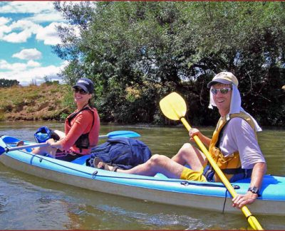 Brad and I pose while paddling down the Murray River