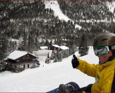 Taos Ski Valley: My instructor gives a thumbs-up to the bunny (?!) hill
