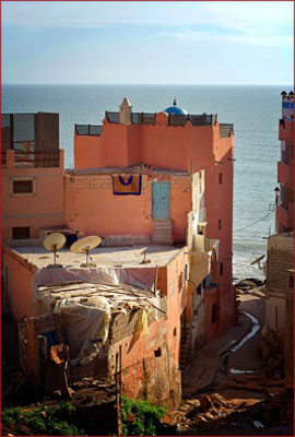 View of houses on Hash Point, Taghazout, Morocco