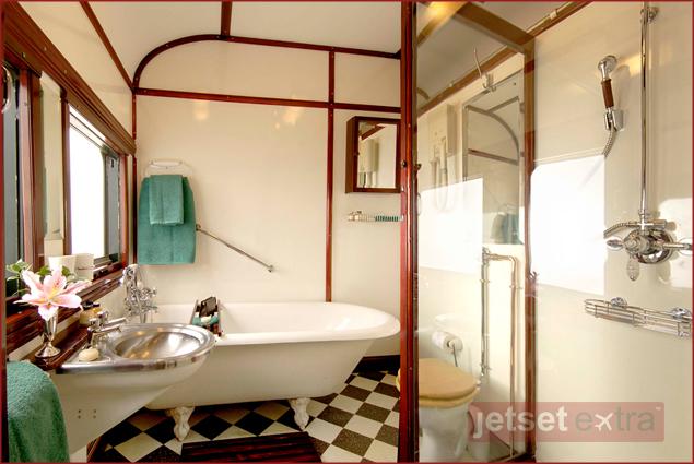 Luxury Train Rides Around the World: Royal Suite Bathroom