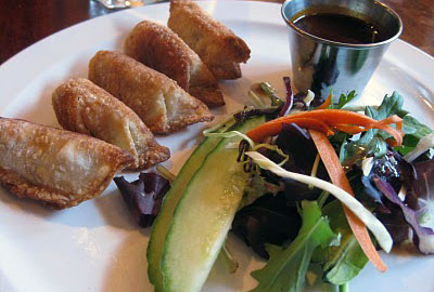 Japanese dumplings with a hot chili sauce and garnish salad
