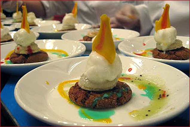 Scanway: Taste of victory, bronze spice cookie, silver meringues, Goldschlager ice cream
