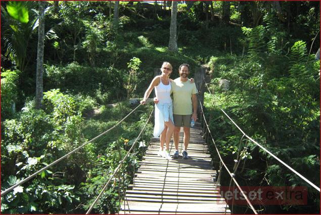 Swinging bridge in Ubud