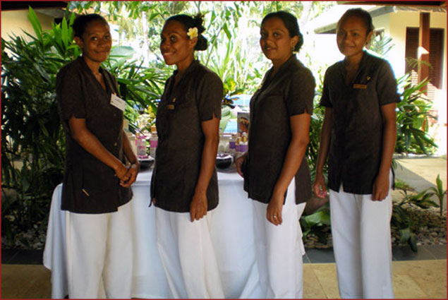 Oasis staff ready to welcome you for a memorable spa experience in paradise