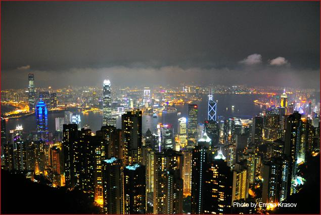 A view of Hong Kong at night