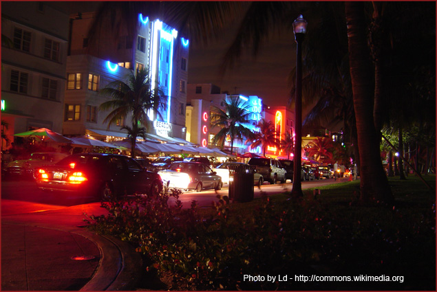 Ocean Drive in South Beach, Miami at night