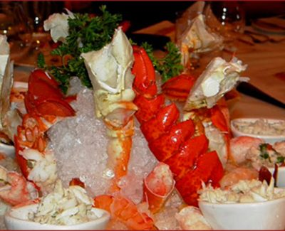 King crab legs, lobster tails, and jumbo shrimps...