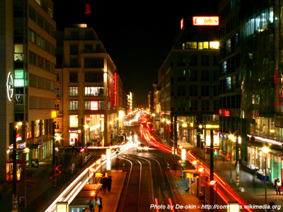 The Friedrichstrasse in Berlin at night