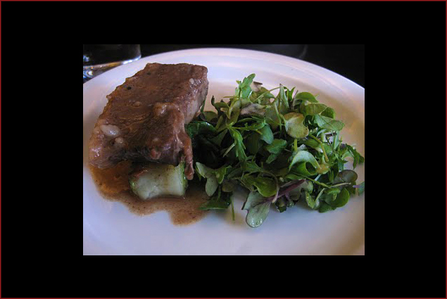 Beef Short Rib with Potato Cannelloni and Microgreens