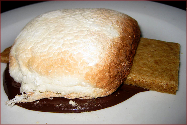 Wood-fired S'more - House made marshmallow toasted in the wood-fired oven w/ chocolate ganache and graham cracker