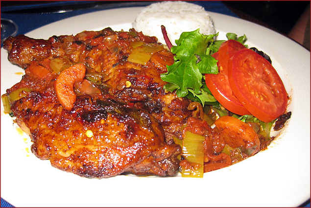A dish from Mozambique: baked chicken in a spicy chili pepper marinade