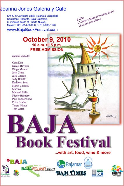 Baja Book Festival flyer designed by renowned artist Francisco Cabello