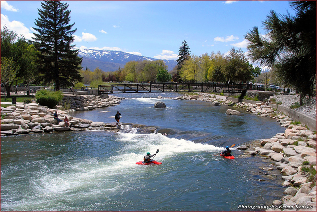 Whitewater rafting on Truckee River in downtown Reno
