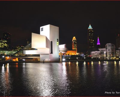 Cleveland downtown at night as seen from Lake Erie North Shore