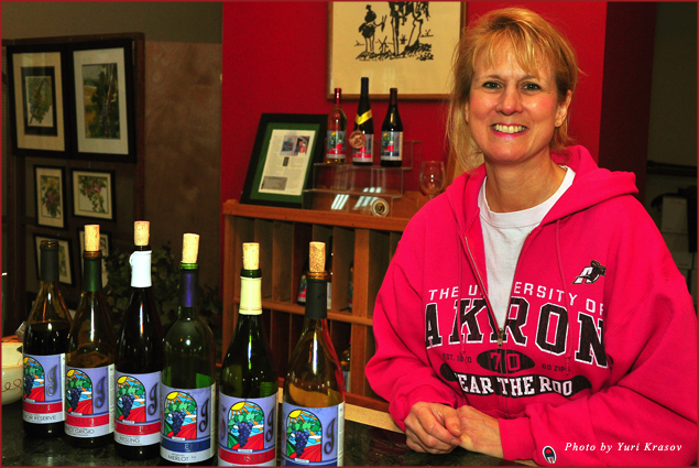 Doreen Pietrzyk of St. Joseph Vineayards with her wines in Lake County