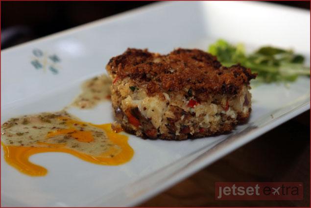 Rock lobster cake with arugula