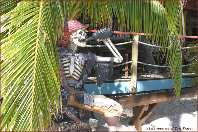 Iggie's Beach Bar and Grill has special seats for pirates outside its open terrace