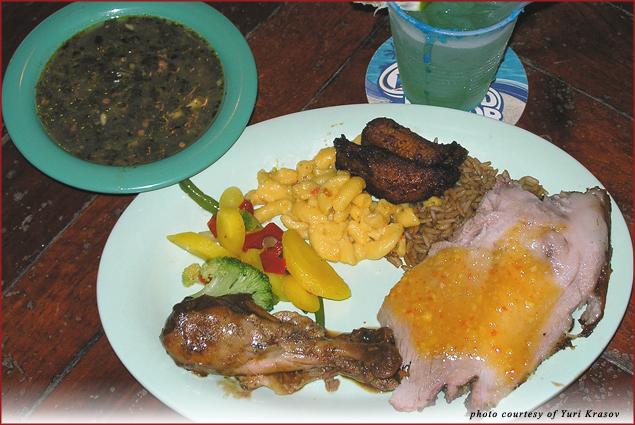 Plate of Caribbean specialties & a blue Margarita at Cruzan Carnival Extravaganza