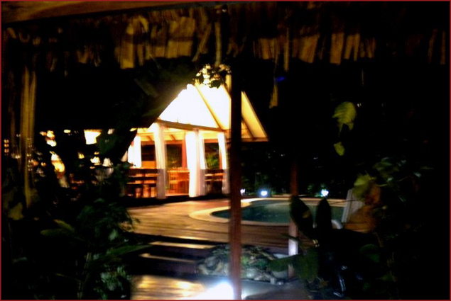 Our beautiful Bungalow-Hotel at night