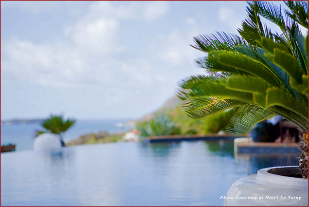 Relax in the infinity pool at Hotel Le Toiny