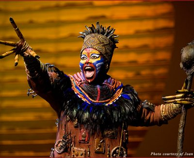 "Buyi Zama as Rafiki in the opening number ""The Circle of Life"" from ""The Lion King"" in Las Vegas. ©2009, Disney"