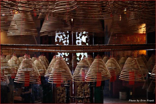 Coils of incense burn at Man Mo temple