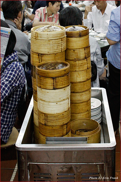 Carts and plates of dim sum at Lin Heung tea house