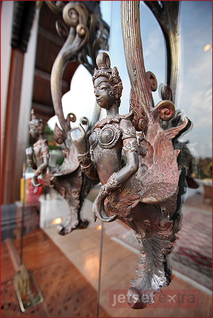 The detail of craftsmanship extends to the door handles of the Farang Ses restaurant