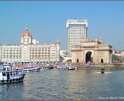 View of Mumbai from the harbor on the way to Elephanta Island