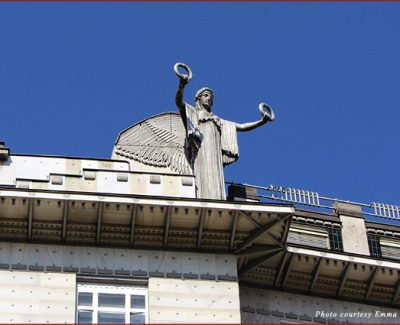 Roof statue on Vienna Post Office Savings Bank by Otto Wagner
