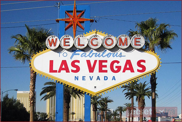 This iconic sign welcomes visitors to Las Vegas, Nevada