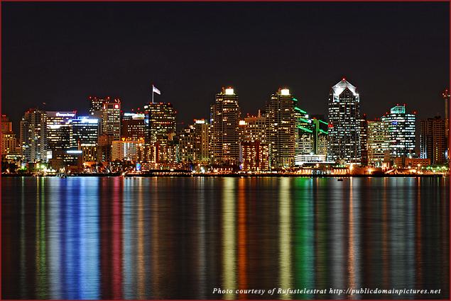 San Diego's dazzling nighttime skyline reflected in San Diego Bay