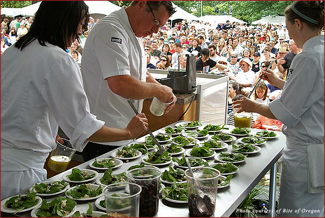 Salad preparation at the Bite of Oregon Chef's Stage