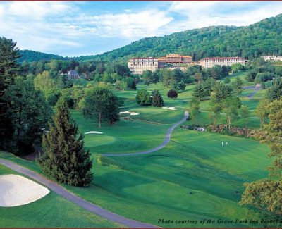 Gorgeous scenery surrounds the Grove Park Inn in Asheville, North Carolina