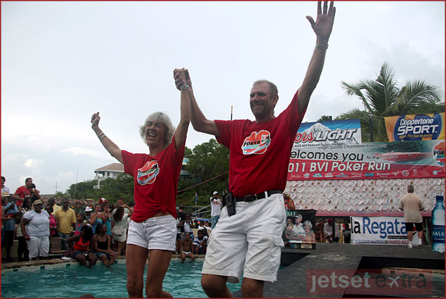 Nick and Monica Willis celebrating the end of Leverick Bay Poker Run 2011