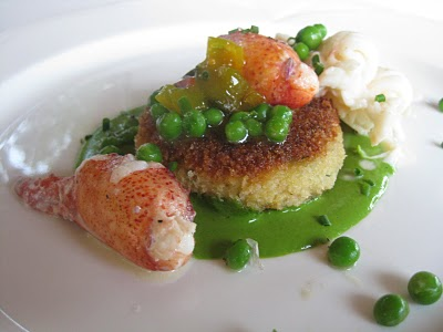 Line-caught Shrimp Cake with Butter Poached Lobster, Fresh Peas and Spinach Cream