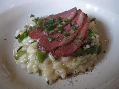 Duck Breast atop Asparagus and Rancher Acres Goat Cheese Risotto