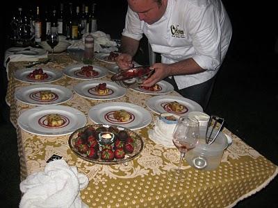 Tangled Garden Strawberry Liqueur Glazed Local Strawberries, Lemon Brioche Bread Pudding, Fox Hill's Vanilla Gelato