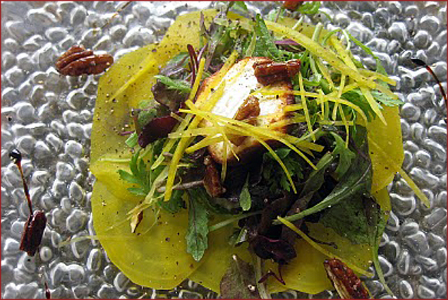 Hutten's Roasted Beet & Microgreens salad w/ goat cheese and candied pecans