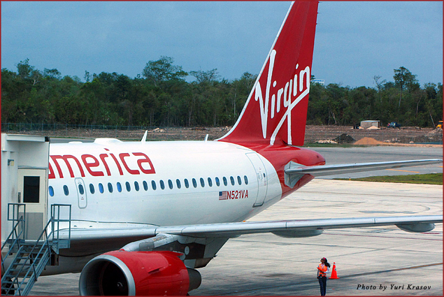 Virgin America plane at the Cancun airport