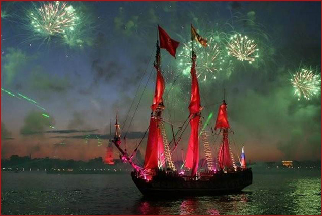 The White Nights are a time of celebration. One highlight is the Scarlet Sails Festival