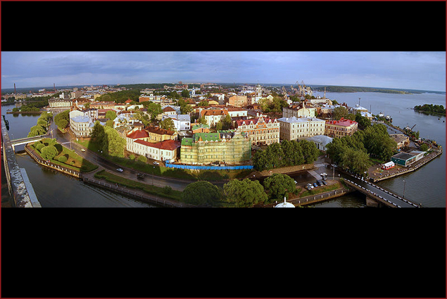View of the central part of the city from St. Olaf tower in Vyborg Castle