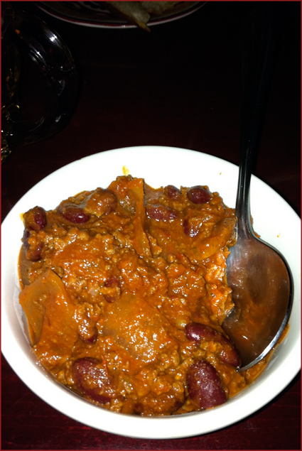 The chili was a pretty standard ground beef chili with the usual additions