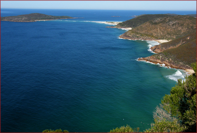 The view over stunning Fingal Bay from Tomaree Heads Lookout, one of several highlights of the 360-degree coastal lookout