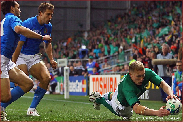 Ireland's Keith Earls dives during a pool phase match