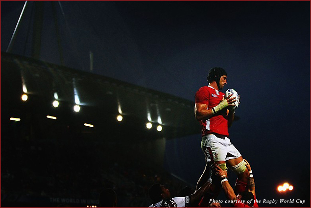 Luke Charteris secures the ball for Wales during the World Cup 2011