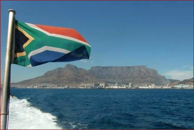 The South African flag flies from the back of the boat