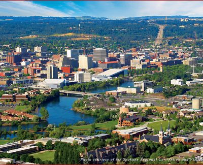Lush greenery surrounds downtown Spokane, Washington