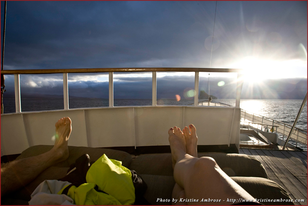 View of sunset off the bow of 'The Evolution' on our first day in the Galapagos