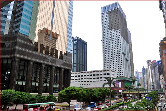 Hong Kong view from a street overpass
